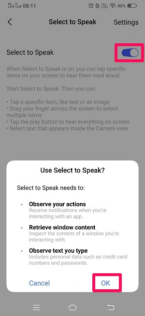 enable select to speak