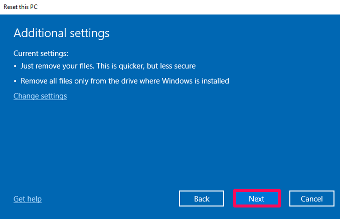 options after clicking remove everything