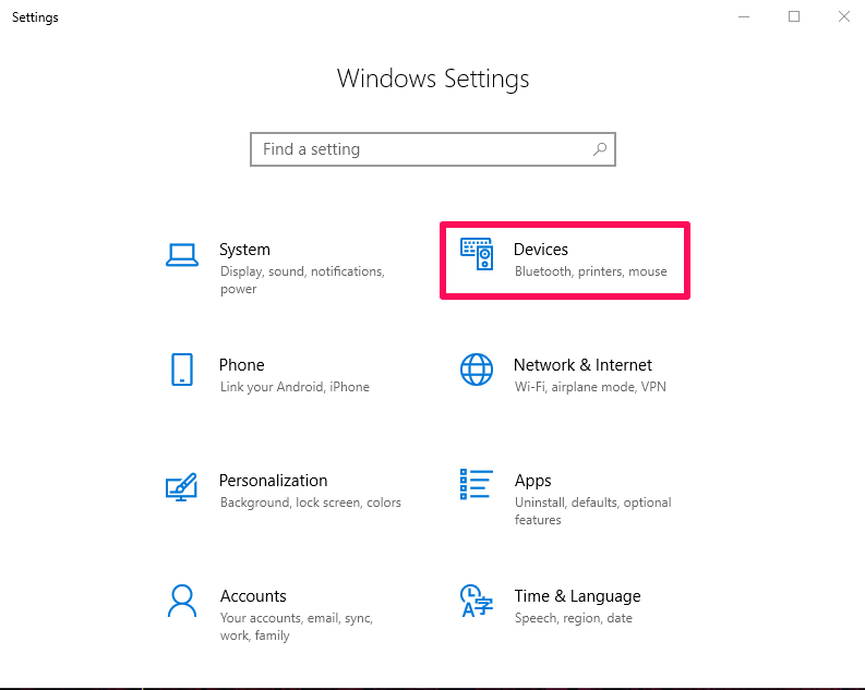 windows setting devices option